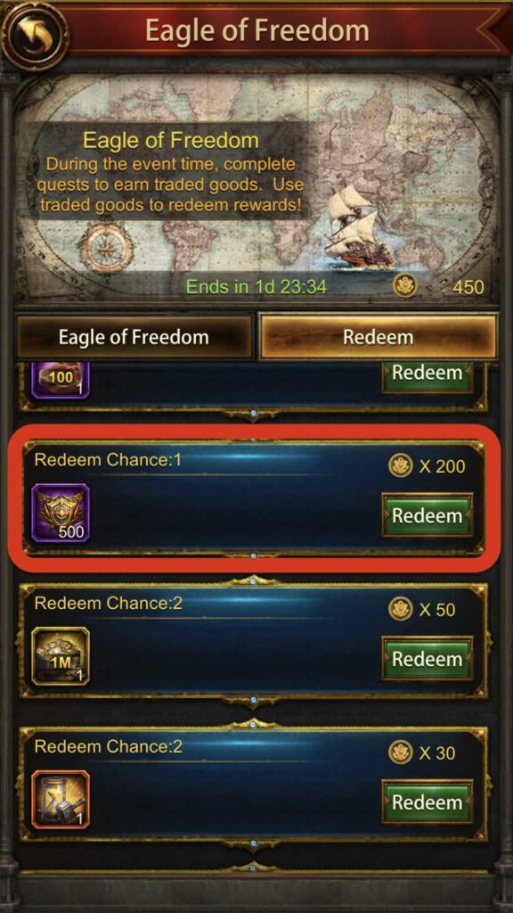 You can get 500 medals on Trade Products Event. (Eagle of Freedom, Strong Drink, Shining Treasure, The Silk Road, Fragrance, etc)