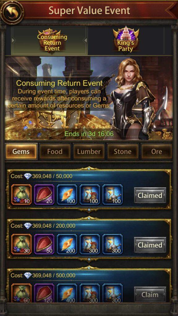Consuming Return Event - Gem Consumption