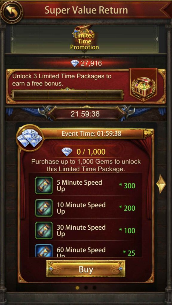 When speed packs are shown in a limited time promotion.