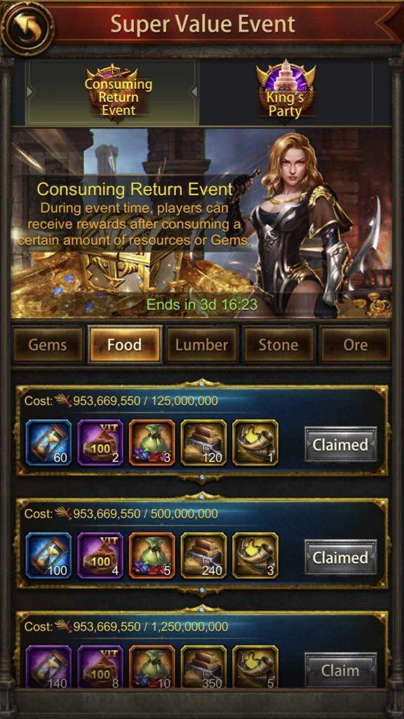 Consuming Return Event – Resource Consumption