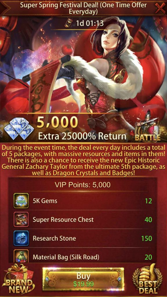 25000% Return Event Package 3rd Pack $19.99