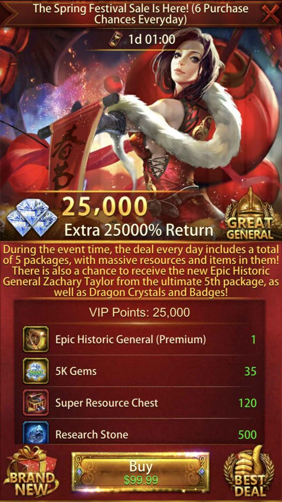 25000% Return Event Package 5th Pack $99.99