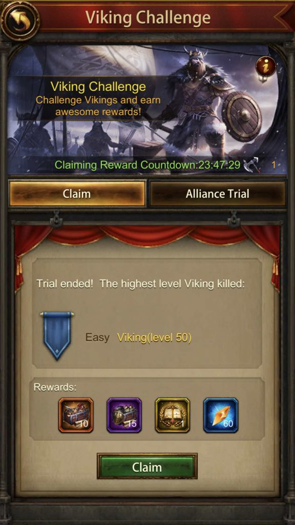 Rewards you get after the Viking Trial (Easy)