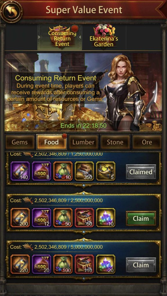 Resource Consuming Return Event