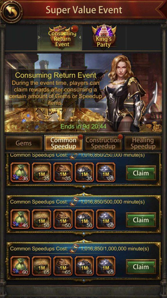 Speed Consuming Return Event