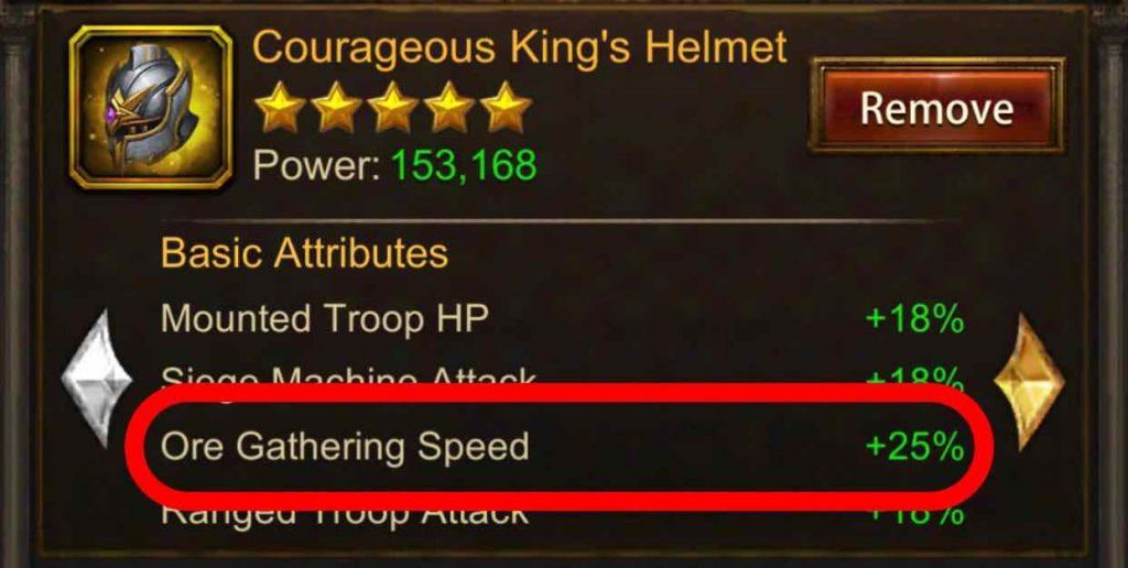 Gathering Speed Buff of King's Equipment
